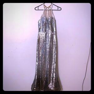 camille la vie long silver dress